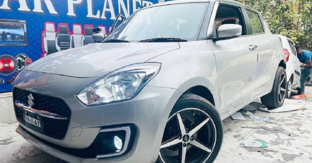 Another 2021 Maruti Swift with stylish 17-inch aftermarket alloys