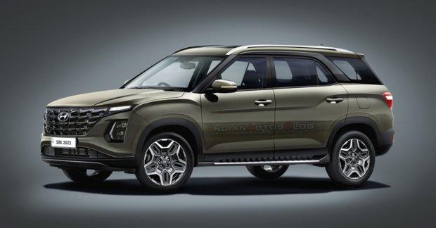 Hyundai Alcazar Facelift visualized based on Creta Facelift Spy Shots – IAB Renderings