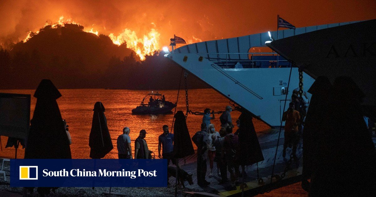 Fires continue to devastate Greek forests and cut the large island of Evia in half