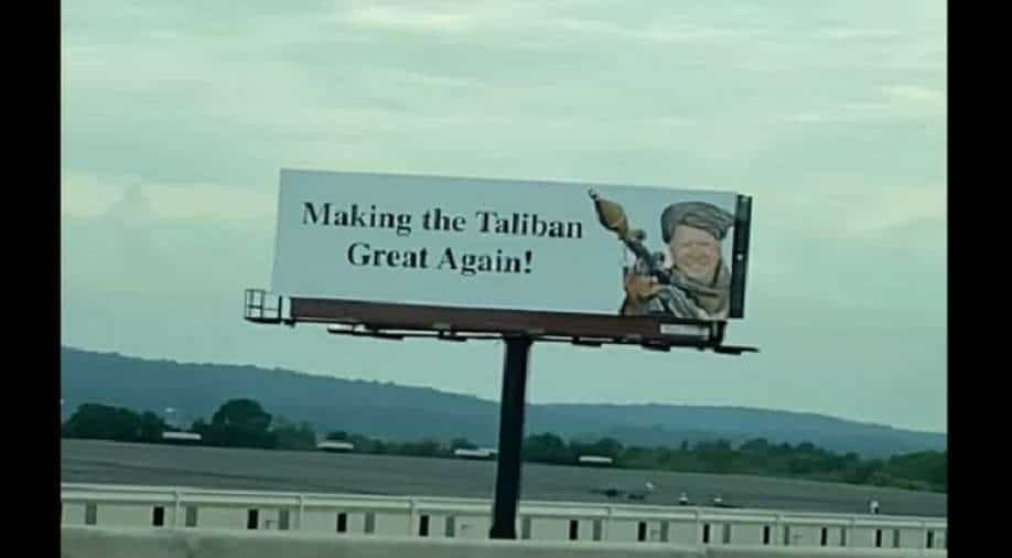 """""""Make the Taliban great again"""": Billboard with Biden disguised as a Taliban fighter appears in the US"""