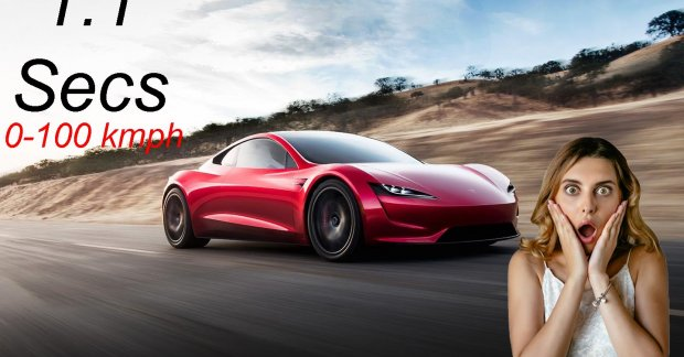 Jaw dropping 0-100 km / h time of 1.1 seconds for the Tesla Roadster SpaceX Kit