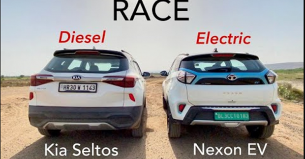 Kia Seltos vs. Tata Nexon EV – Diesel vs. Electric SUV Drag Race
