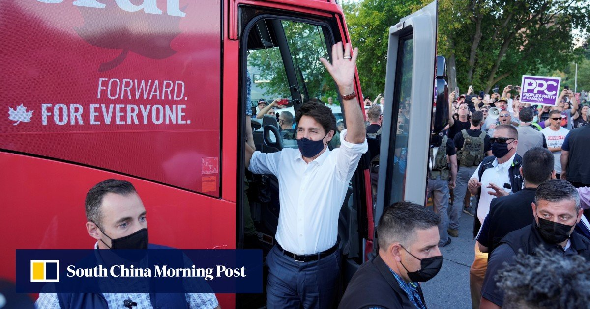 Canada's Justin Trudeau pelted with gravel on election campaign tour