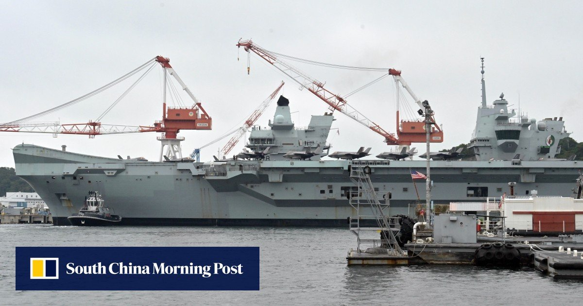 The British aircraft carrier Queen Elizabeth makes its first port call in January